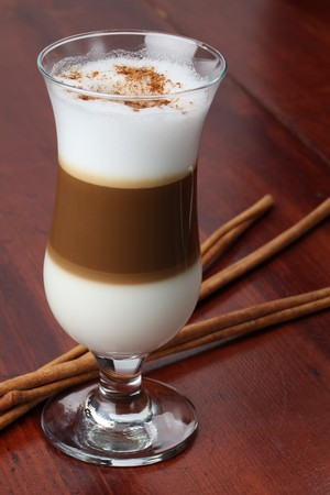 Cafe latte with cinnamon