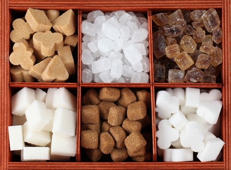VSugar collection - various kinds of sugar cubes in a box. Shallow dof