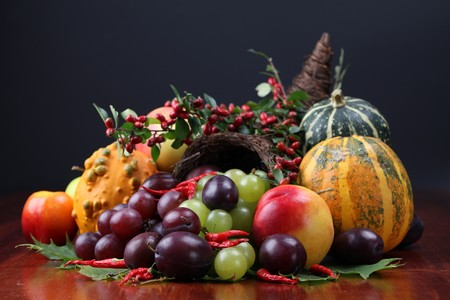 Autumn cornucopia - symbol of food and abundanceの写真素材