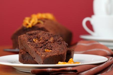 Chocolate cake with candied orange peel. Shallow dof