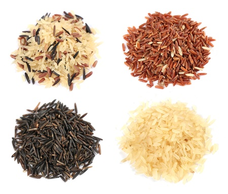 Various kinds of rice on white background