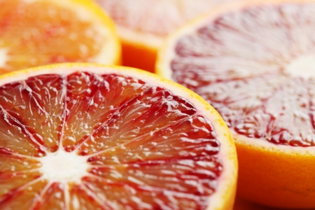 Close up of halved blood orange  Shallow dof