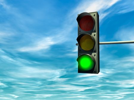 Foto de City traffic light with a green signal - Imagen libre de derechos