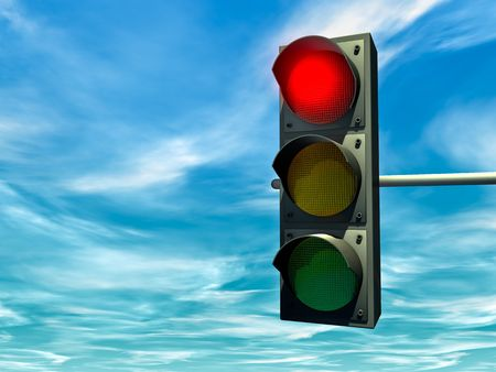 City traffic light with a red signal