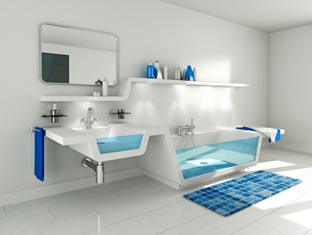 3D Illustration of modern bathroom interior.