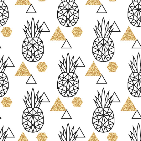 Ilustración de Line geometric pineapple and gold shimmer dot shapes seamless vector pattern. Low poly fruit abstract background for print, textile fabric, invitation card and wall decor. - Imagen libre de derechos