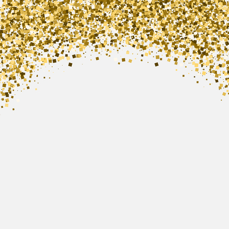 Illustration for Gold glitter shimmery heading. Invitation card or flyer with sparkling top on white background. - Royalty Free Image