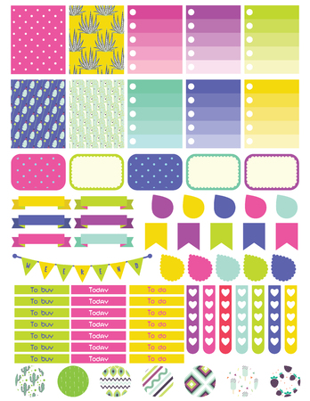 Stickers and label tags colorful set. Planner stickers, to do list card notes, memo for scrapbook and notepad.