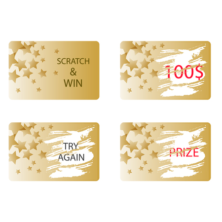 Illustration for Scratch and win a prize or try again card vector. Lottery ticket in gold color with stars. - Royalty Free Image