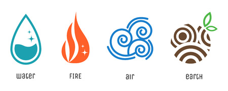 Ilustración de Four elements flat style symbols. Water, fire, air and earth signs. - Imagen libre de derechos