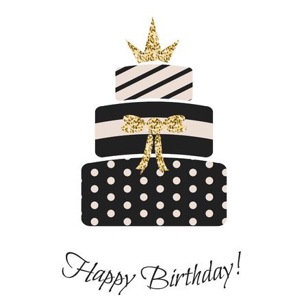 Vektor für Glam birthday cake for girls. Black and pastel pink, striped, dotted three-tier cake. Gold glitter crown topping. - Lizenzfreies Bild