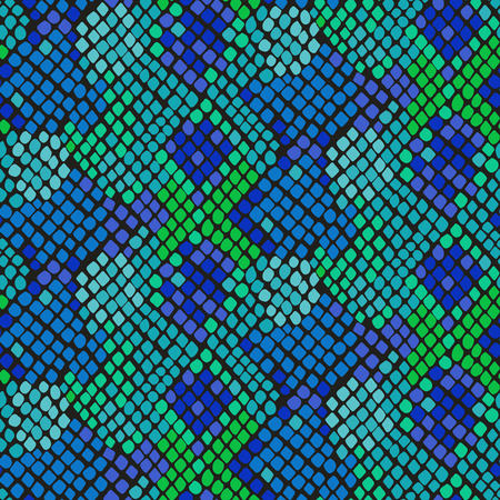 Snake skin seamless vector texture  Blue and green tone