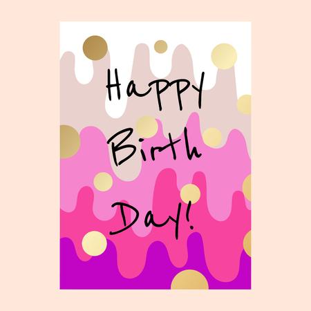 Illustration pour Happy birthday cake layers card design. - image libre de droit