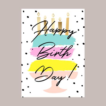 Illustration pour Happy birthday cake card design. - image libre de droit