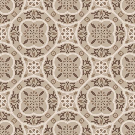 Illustration pour Floor tiles ornament brown vector pattern print. Neutral colors geometric hexagonal seamless backdrop. - image libre de droit