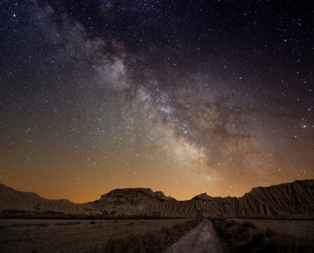 Milky Way over the desert of Bardenas, Spainの写真素材