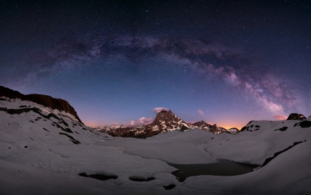 Arc of the milky way over mount Midi, Pirenees, France