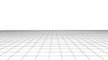 Illustration pour Vector perspective grid. Detailed lines on white background. - image libre de droit