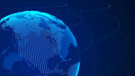 Photo pour World wide web. Global network connection. World map. Planet Earth. 3D rendering. - image libre de droit