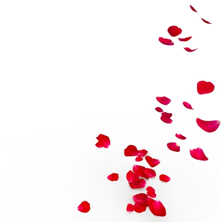 Red rose petals are flying to the floor. Isolated background. 3D Render