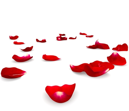 Red rose petals scattered on the floor. 3D render