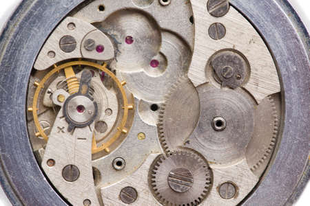 Photo pour The clock mechanism in the macroscale. Old clock in close-up - image libre de droit