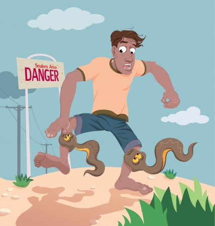 A vector cartoon illustrating a dangerous situation