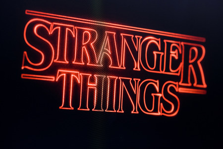 LONDON, UK - OCTOBER 26th 2017: Stranger things title logo photographed on a computer screen.