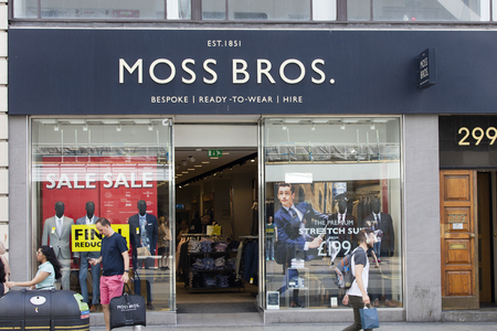 LONDON, UK - JULY 31th 2018: Moss Bros mens suit shop on Oxford Street in central London.