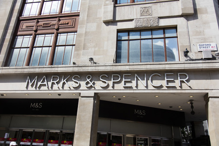 LONDON, UK - JULY 31th 2018: Marks and Spencer clothing store shop front on Oxford Street in central London.