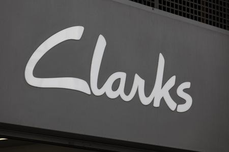 LONDON, UK - JULY 31th 2018: Clarks shoe shop store front branding on Oxford Street in central London.