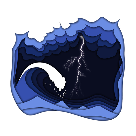 Thunderstorm with lightning and cloudy dark sky at the sea or ocean with big tsunami waves. Natural disaster, climate change concept. Paper cut out style vector illustration.