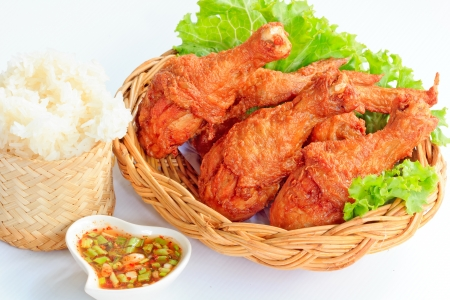 Hot Meat Dishes - Fried Chicken with Red Spicy Sauce and Sticky rice