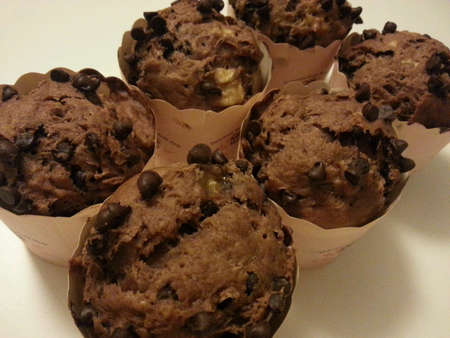 Freshly baked banana chocolate chips muffins