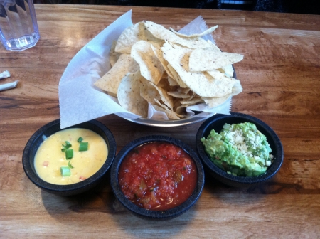 Chips and dip appetizer at a Mexican restaurant