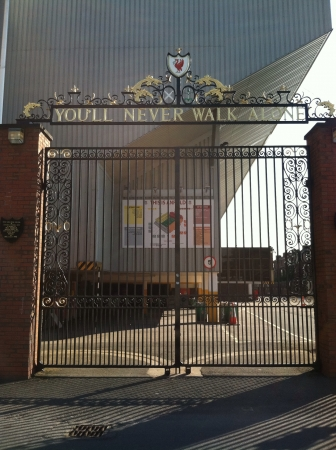 Gate tribute outside of arsenal stadium in Liverpool