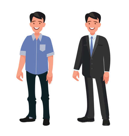 Illustration pour Handsome bearded man in casual and business clothes. Person dressed in a shirt and jeans and a strict suit. Vector illustration in cartoon style - image libre de droit