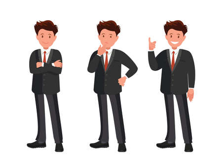 Illustration for Character set. The businessman thinks, finds a solution and is happy. Vector illustration in cartoon style. - Royalty Free Image