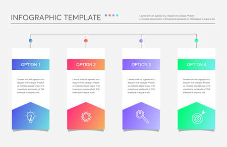 Illustration pour Minimalistic business infographics with 4 steps, options. Creative vector linear infographic with four conected element with icons and place for text. Can be use for report, strategy, presentation. - image libre de droit