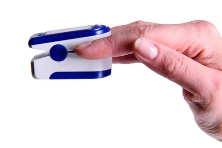 Photo pour Fingertip Oxygen Sensor Pulse Rate Health Testor Oximeter  stock image isolated on white background - image libre de droit