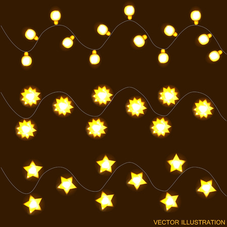 Christmas Lights Vector Free.Background With Yellow Christmas Lights Vector Illustration