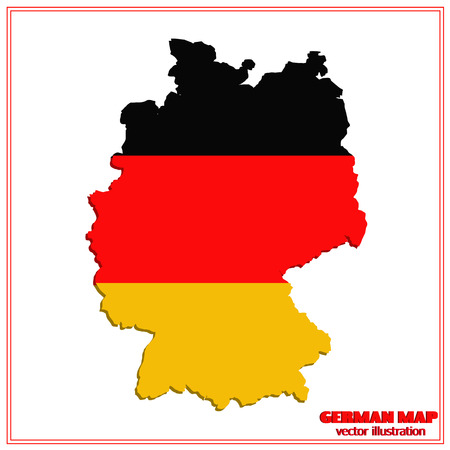 Bright map and flag of Germany vector illustration.
