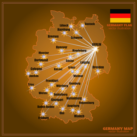Bright map of Germany with cities in gold colors.