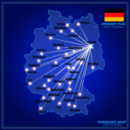 Bright map of Germany with cities. Vector Illustration in blue colors. Map with cities and communications from Berlin.