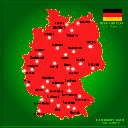 Bright map of Germany with cities. Vector Illustration in red and green colors.