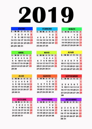 Simple design for calendar 2019.
