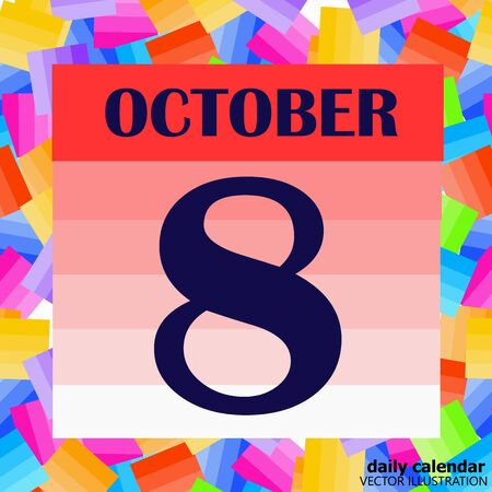 Illustration pour October 8 icon. For planning important day. Vector iIllustration - image libre de droit