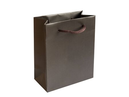 Photo pour Blank paper gift bag isolated on white background. Shopping bag. Mockup for design. - image libre de droit
