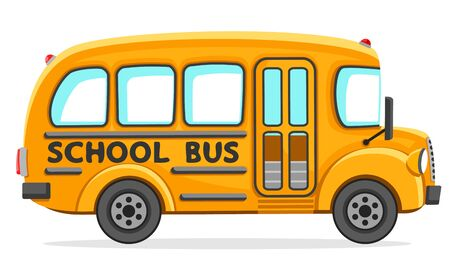 Illustration for Empty school bus close-up on a white background. Isolated - Royalty Free Image