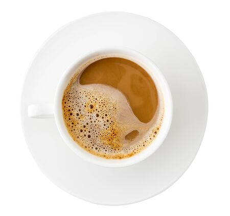 Photo pour Coffee Cup top view on white background. Isolated - image libre de droit